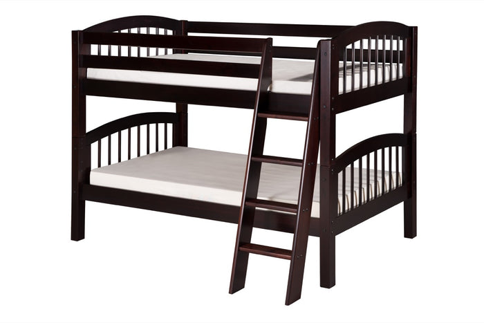 Camaflexi Low Bunk Bed - Arch Spindle Headboard - Angle Ladder - Cappuccino Finish - C2002A_CP