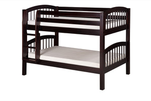 Camaflexi Low Bunk Bed - Arch Spindle Headboard - Cappuccino Finish - C2002_CP-Bunk Beds-HipBeds.com