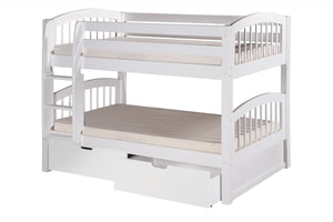Camaflexi Low Bunk Bed with Drawers - Arch Spindle Headboard - White Finish - C2003_DR-Bunk Beds-HipBeds.com