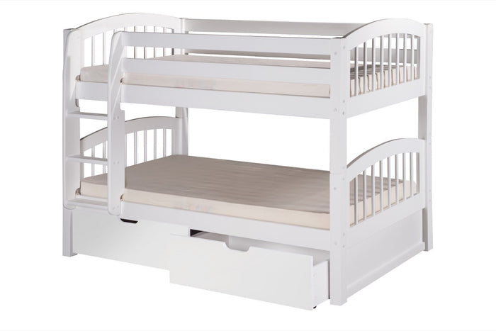 Camaflexi Low Bunk Bed with Drawers - Arch Spindle Headboard - White Finish - C2003_DR