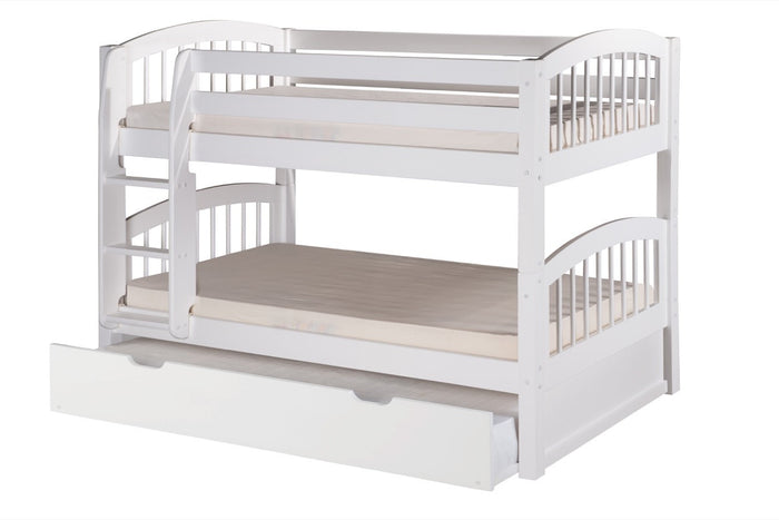 Camaflexi Low Bunk Bed with Twin Trundle - Arch Spindle Headboard - White Finish - C2003_TR