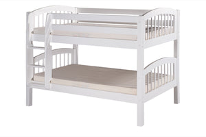 Camaflexi Low Bunk Bed - Arch Spindle Headboard - White Finish - C2003_WH-Bunk Beds-HipBeds.com