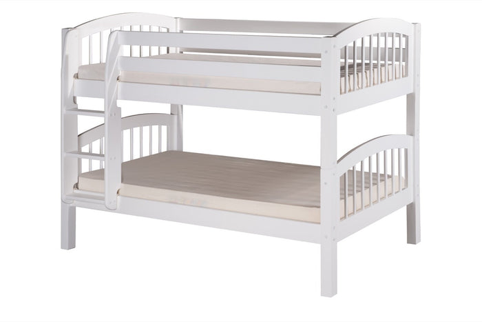 Camaflexi Low Bunk Bed - Arch Spindle Headboard - White Finish - C2003_WH