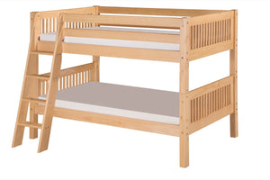 Camaflexi Low Bunk Bed - Mission Headboard - Angle Ladder - Natural Finish - C2011A_NT-Bunk Beds-HipBeds.com