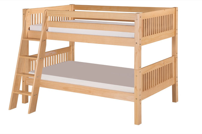 Camaflexi Low Bunk Bed - Mission Headboard - Angle Ladder - Natural Finish - C2011A_NT