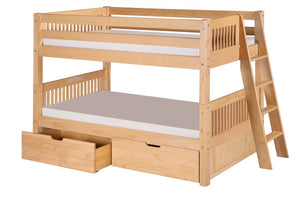 Camaflexi Low Bunk Bed with Drawers - Mission Headboard - Lateral Angle Ladder - Natural Finish - C2011L_DR-Bunk Beds-HipBeds.com