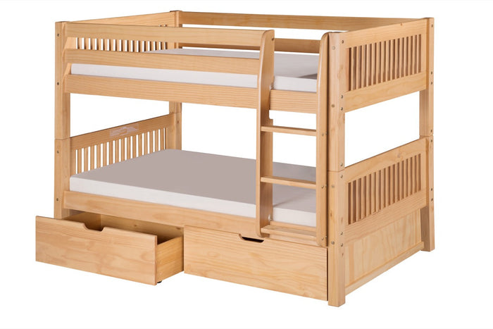Camaflexi Low Bunk Bed with Drawers - Mission Headboard - Natural Finish - C2011_DR