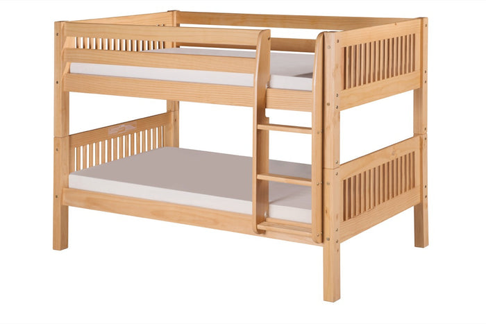 Camaflexi Low Bunk Bed - Mission Headboard - Natural Finish - C2011_NT
