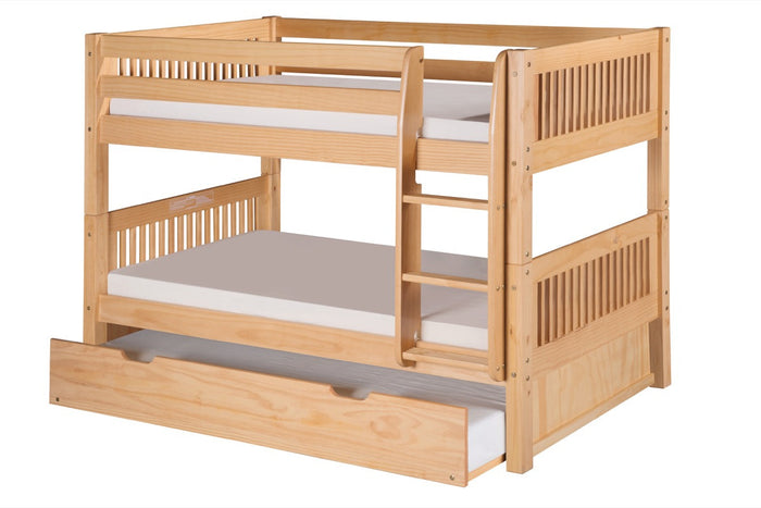 Camaflexi Low Bunk Bed with Twin Trundle - Mission Headboard - Natural Finish - C2011_TR