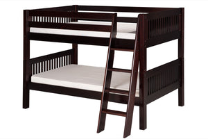 Camaflexi Low Bunk Bed - Mission Headboard - Angle Ladder - Cappuccino Finish - C2012A_CP-Bunk Beds-HipBeds.com