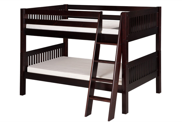 Camaflexi Low Bunk Bed - Mission Headboard - Angle Ladder - Cappuccino Finish - C2012A_CP