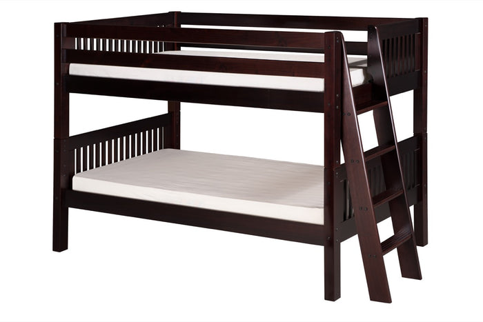 Camaflexi Low Bunk Bed - Mission Headboard - Lateral Angle Ladder - Cappuccino Finish - C2012L_CP