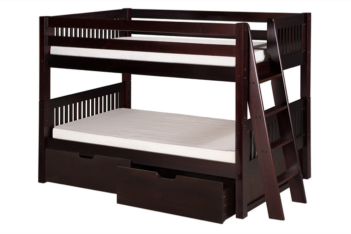 Camaflexi Low Bunk Bed with Drawers - Mission Headboard - Lateral Angle Ladder - Cappuccino Finish - C2012L_DR