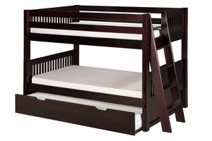 Camaflexi Low Bunk Bed with Twin Trundle - Mission Headboard - Lateral Angle Ladder - Cappuccino Finish - C2012L_TR-Bunk Beds-HipBeds.com