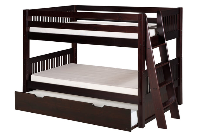 Camaflexi Low Bunk Bed with Twin Trundle - Mission Headboard - Lateral Angle Ladder - Cappuccino Finish - C2012L_TR