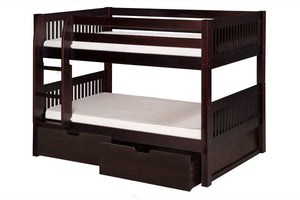 Camaflexi Low Bunk Bed with Drawers - Mission Headboard - Cappuccino Finish - C2012_DR-Bunk Beds-HipBeds.com