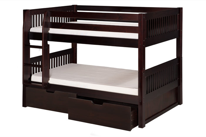 Camaflexi Low Bunk Bed with Drawers - Mission Headboard - Cappuccino Finish - C2012_DR