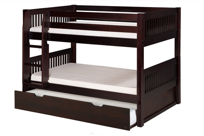 Camaflexi Low Bunk Bed with Twin Trundle - Mission Headboard - Cappuccino Finish - C2012_TR