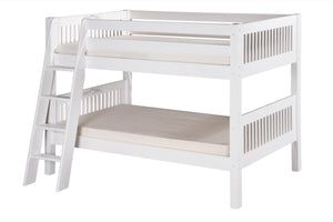 Camaflexi Low Bunk Bed - Mission Headboard - Angle Ladder - White Finish - C2013A_WH-Bunk Beds-HipBeds.com