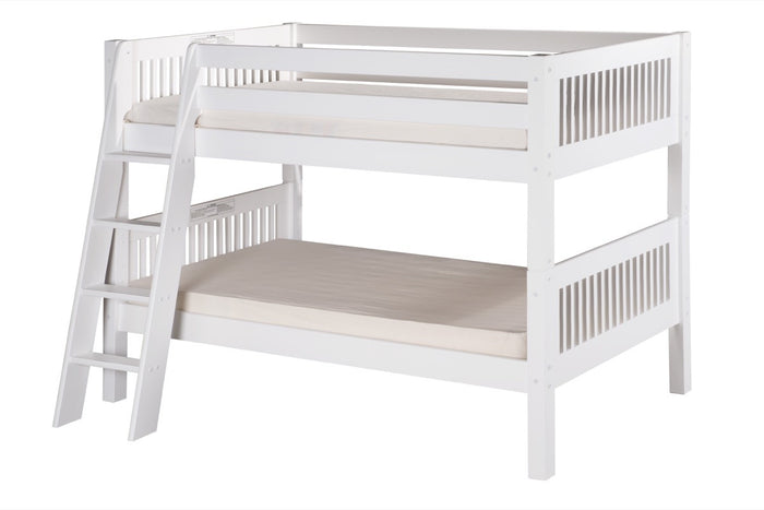 Camaflexi Low Bunk Bed - Mission Headboard - Angle Ladder - White Finish - C2013A_WH