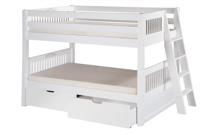 Camaflexi Low Bunk Bed with Drawers - Mission Headboard - Lateral Angle Ladder - White Finish - C2013L_DR