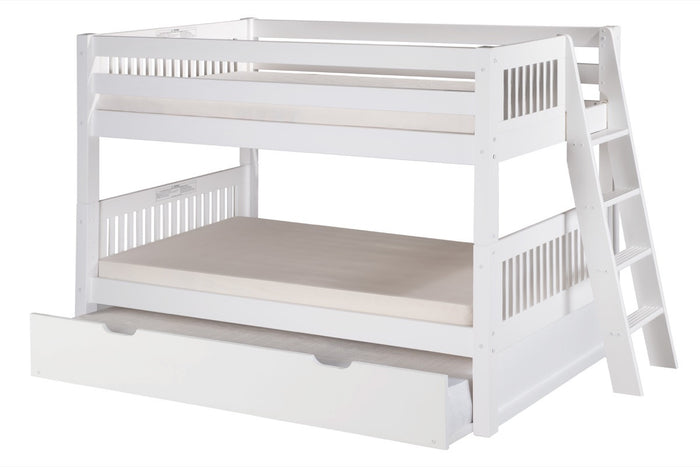 Camaflexi Low Bunk Bed with Twin Trundle - Mission Headboard - Lateral Angle Ladder - White Finish - C2013L_TR