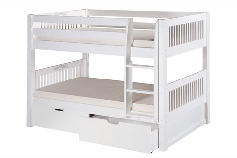 Camaflexi Low Bunk Bed with Drawers - Mission Headboard - White Finish - C2013_DR-Bunk Beds-HipBeds.com