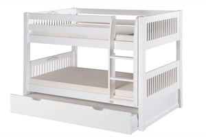 Camaflexi Low Bunk Bed with Twin Trundle - Mission Headboard - White Finish - C2013_TR-Bunk Beds-HipBeds.com