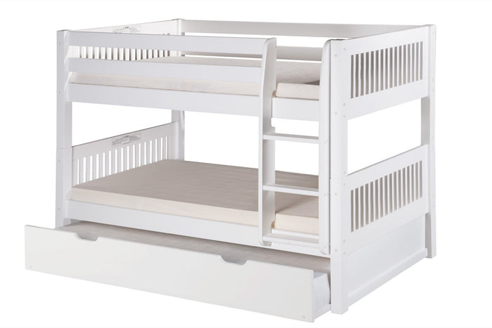Camaflexi Low Bunk Bed with Twin Trundle - Mission Headboard - White Finish - C2013_TR