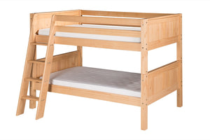 Camaflexi Low Bunk Bed - Panel Headboard - Angle Ladder - Natural Finish - C2021A_NT-Bunk Beds-HipBeds.com