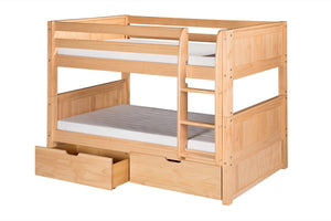 Camaflexi Low Bunk Bed with Drawers - Panel Headboard - Natural Finish - C2021_DR-Bunk Beds-HipBeds.com