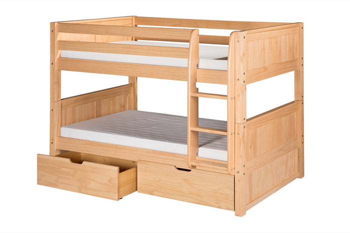 Camaflexi Low Bunk Bed with Drawers - Panel Headboard - Natural Finish - C2021_DR