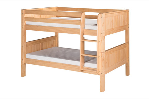 Camaflexi Low Bunk Bed - Panel Headboard - Natural Finish - C2021_NT-Bunk Beds-HipBeds.com