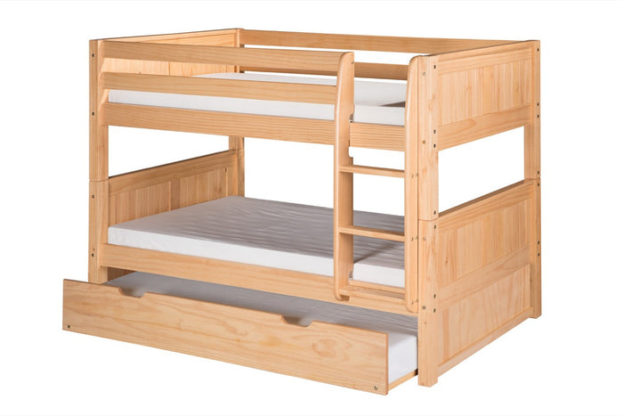 Camaflexi Low Bunk Bed with Twin Trundle - Panel Headboard - Natural Finish - C2021_TR
