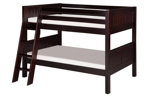 Camaflexi Low Bunk Bed - Panel Headboard - Angle Ladder - Cappuccino Finish - C2022A_CP-Bunk Beds-HipBeds.com