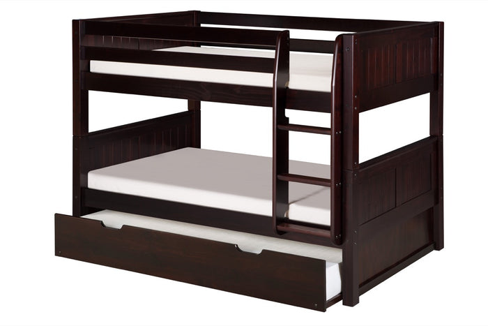 Camaflexi Low Bunk Bed with Twin Trundle - Panel Headboard - Cappuccino Finish - C2022_TR