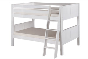Camaflexi Low Bunk Bed - Panel Headboard - Angle Ladder - White Finish - C2023A_WH-Bunk Beds-HipBeds.com