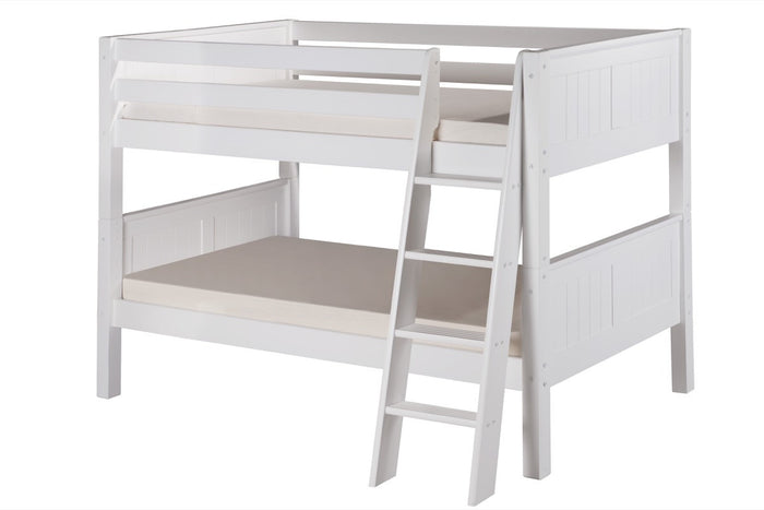 Camaflexi Low Bunk Bed - Panel Headboard - Angle Ladder - White Finish - C2023A_WH