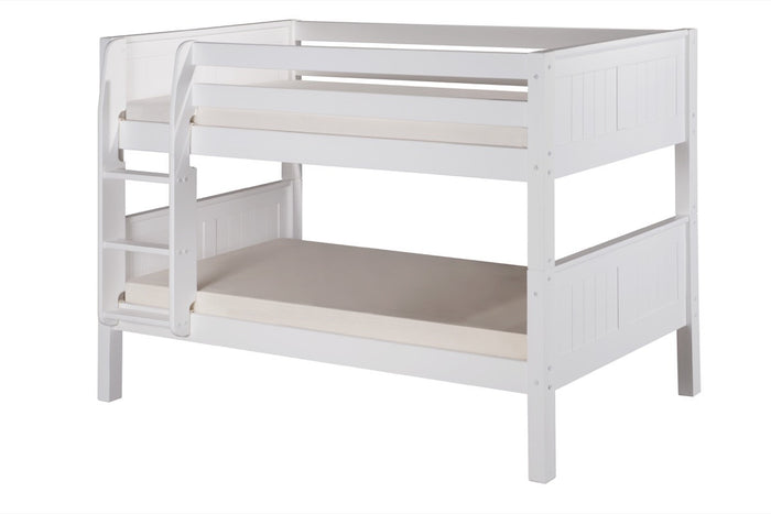 Camaflexi Low Bunk Bed - Panel Headboard - White Finish - C2023_WH