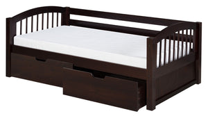 Camaflexi Day Bed with Drawers - Arch Spindle Headboard - Cappuccino Finish - C202_DR-Day Beds-HipBeds.com