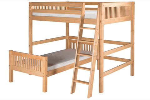 Camaflexi Full Over Twin Loft Bed - L Shape - Mission Headboard - Natural Finish - C2111_NT-Loft Beds-HipBeds.com
