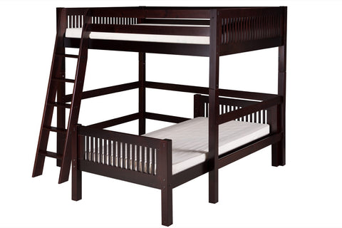 Camaflexi Full Over Twin Loft Bed - L Shape - Mission Headboard - Cappuccino Finish - C2112_CP-Loft Beds-HipBeds.com