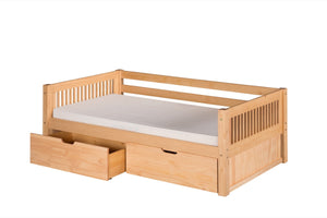 Camaflexi Day Bed with Drawers - Mission Headboard - Natural Finish - C211_DR-Day Beds-HipBeds.com