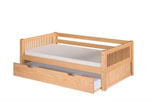 Camaflexi Day Bed with Twin Trundle - Mission Headboard - Natural Finish - C211_TR-Platform Beds-HipBeds.com