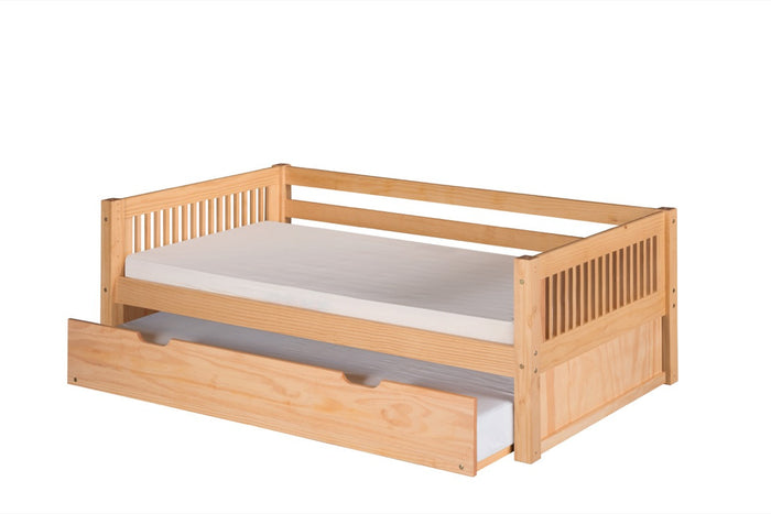 Camaflexi Day Bed with Twin Trundle - Mission Headboard - Natural Finish - C211_TR