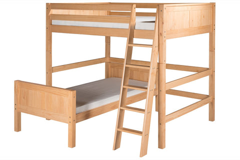Camaflexi Full Over Twin Loft Bed - L Shape - Panel Headboard - Natural Finish - C2121_NT-Loft Beds-HipBeds.com
