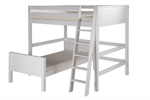Camaflexi Full Over Twin Loft Bed - L Shape - Panel Headboard - White Finish - C2123_WH-Loft Beds-HipBeds.com