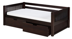 Camaflexi Day Bed with Drawers - Mission Headboard - Cappuccino Finish - C212_DR-Day Beds-HipBeds.com