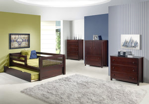Camaflexi Day Bed with Twin Trundle - Mission Headboard - Cappuccino Finish - C212_TR-Platform Beds-HipBeds.com