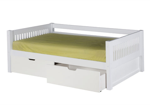 Camaflexi Day Bed with Drawers - Mission Headboard - White Finish - C213_DR-Day Beds-HipBeds.com